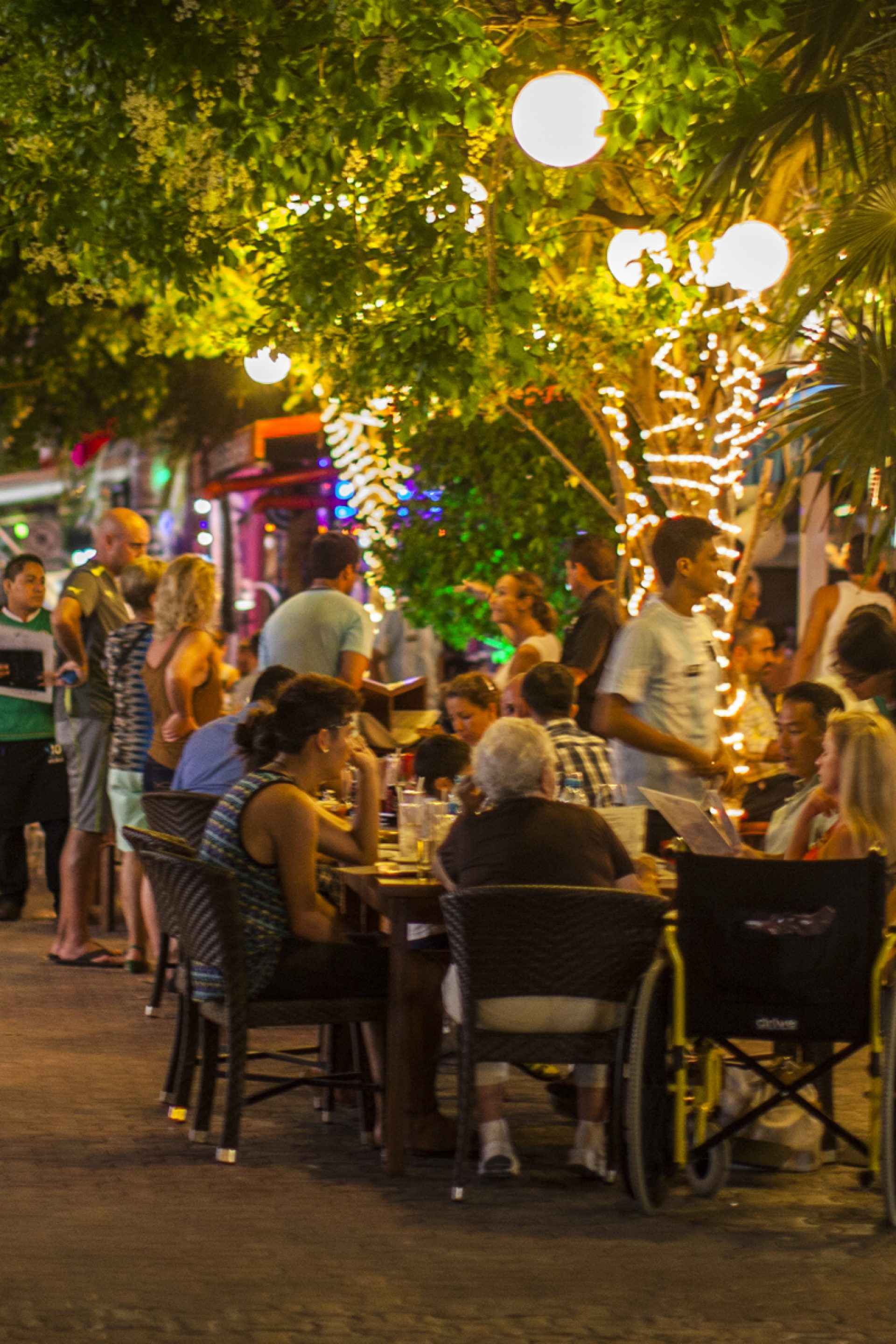 Street view with restaurants night life