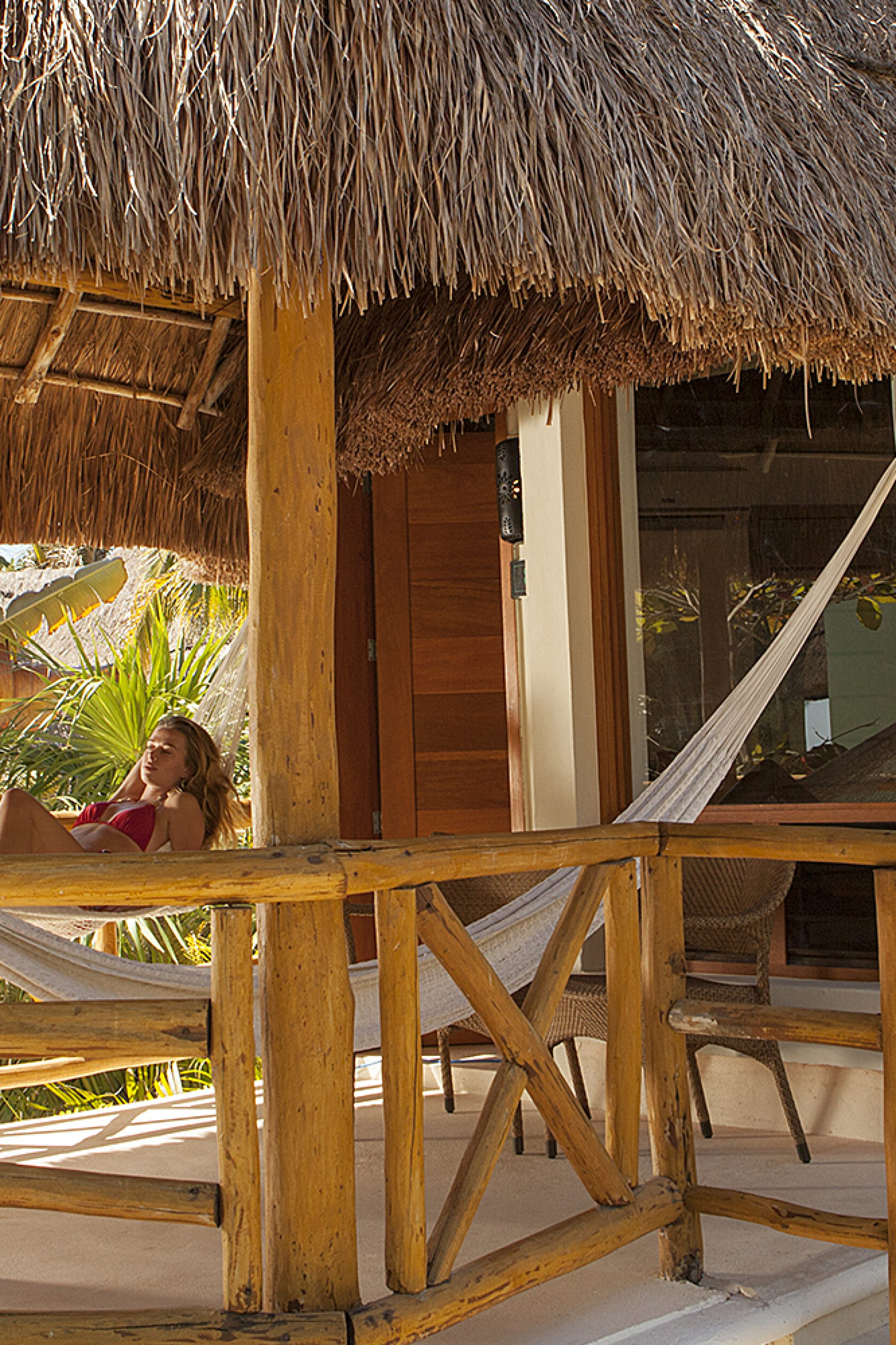 Relax in a Hammock on private deck at Mahekal Beach Resort