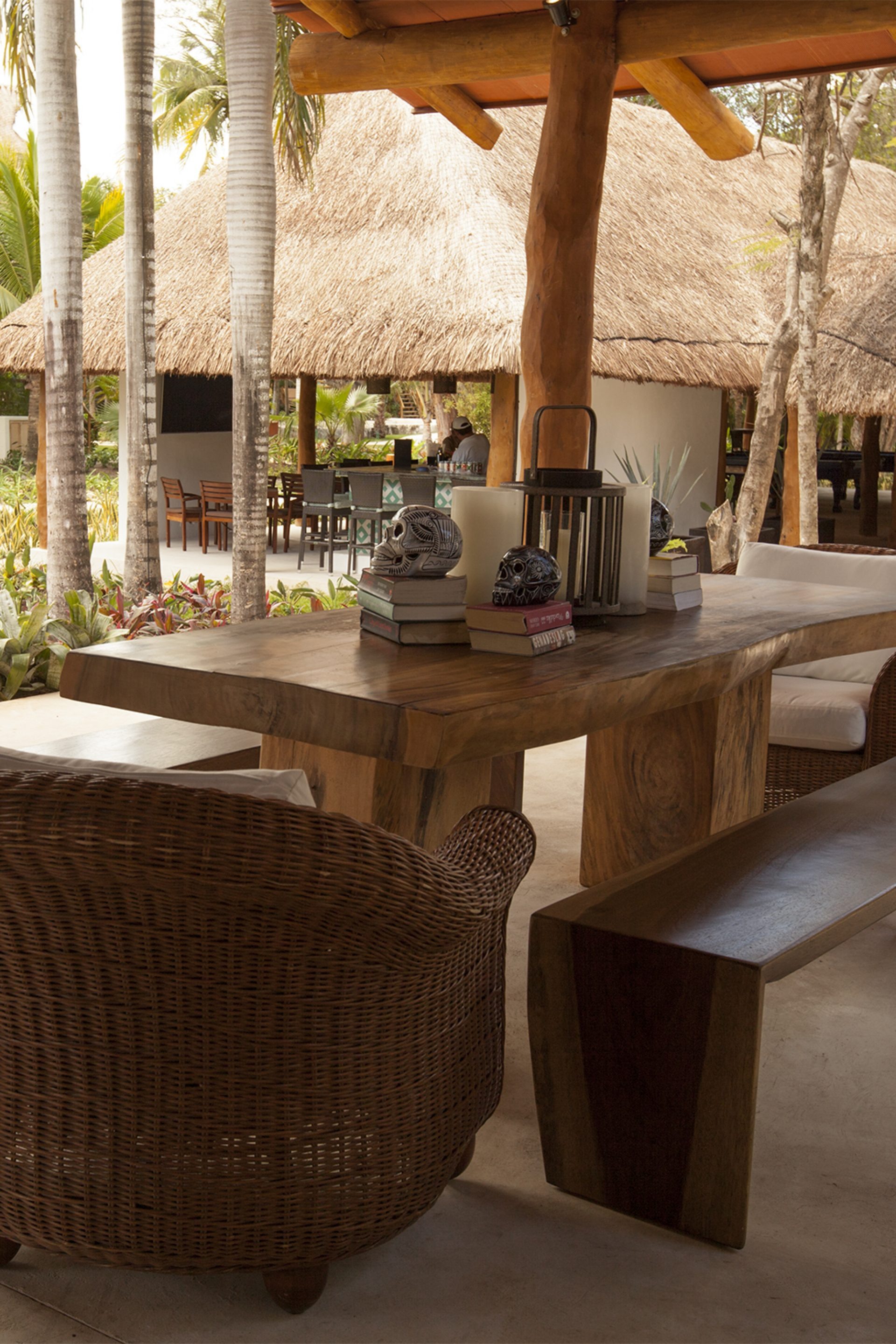 Welcoming outdoor lobby with authentic Mayan furnishings at Mahekal Beach Resort