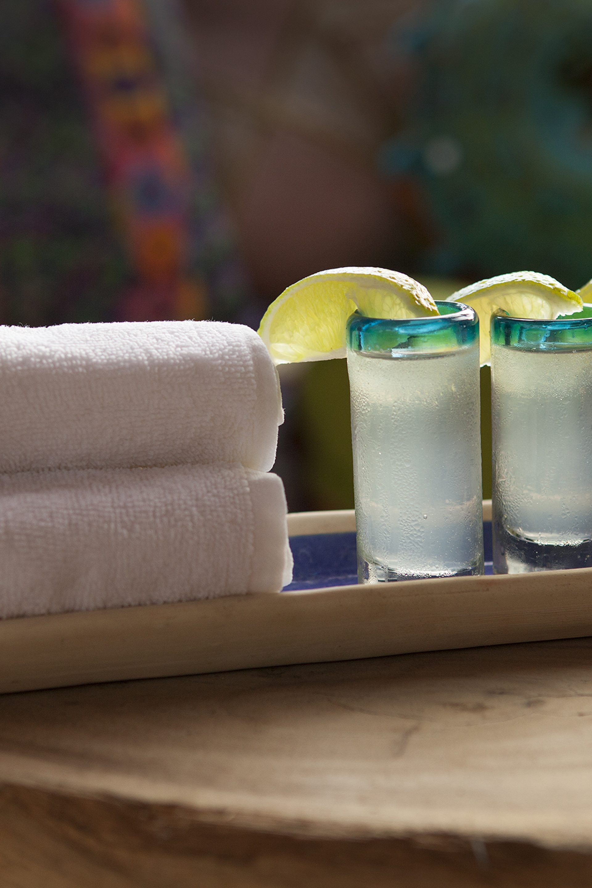 Fresh Towels and Welcome Drinks at Mahekal Beach Resort
