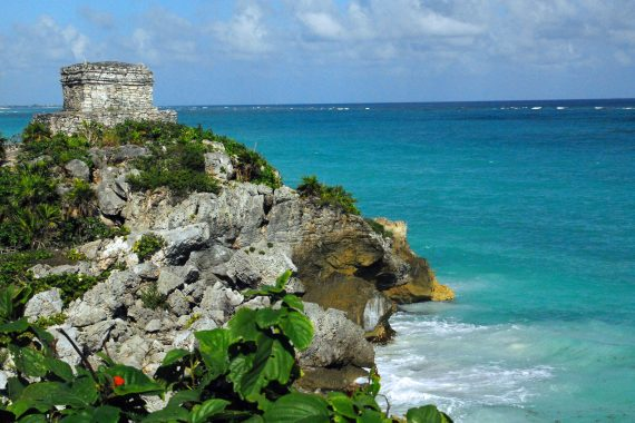 Templo Dios del Viento (God of the Winds Temple) guards Tulum's sea entrance