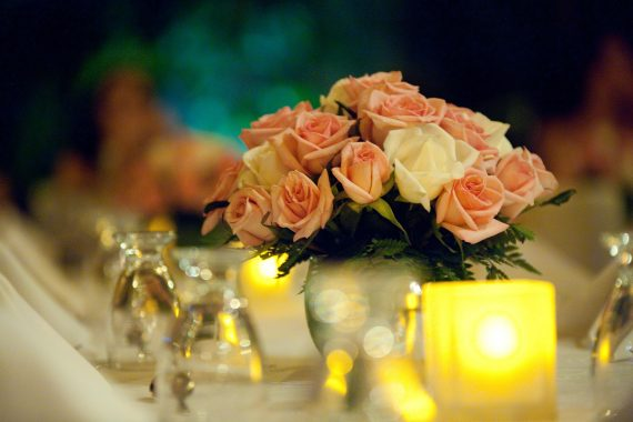 Playa del Carmen wedding floral arrangements at Mahekal Beach Resort