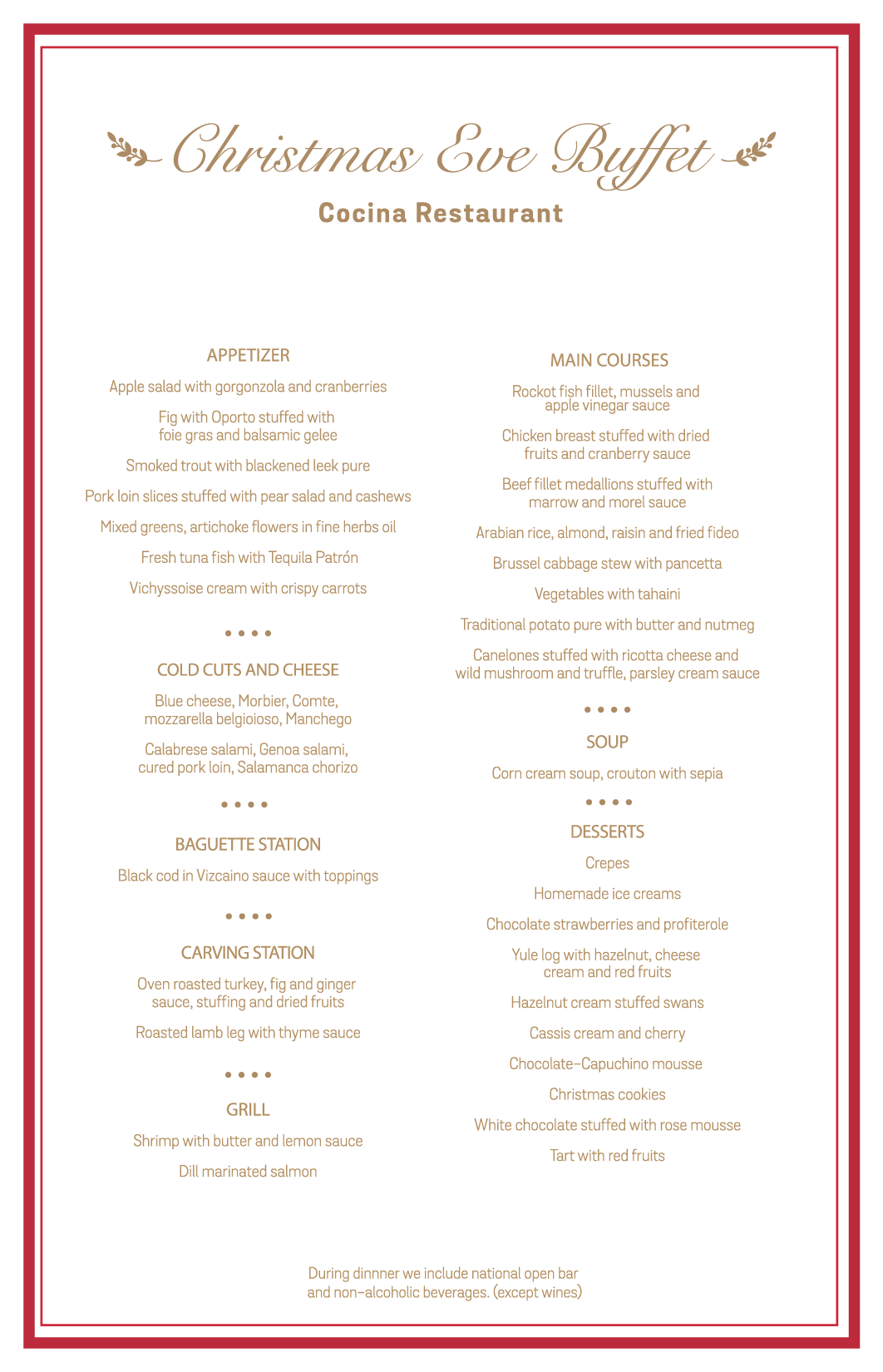 Christmas Buffet Menus.Christmas New Year Mahekal Beach Resort
